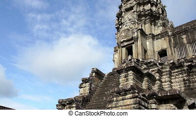 Angkor Wat tower - Entrance to Angkor Wat tower, Siem Reap,...