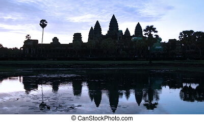 Angkor Wat - Panning across Angkor Wat to review Sunrise