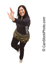 Attractive Hispanic Woman Dancing Zumba on White -...