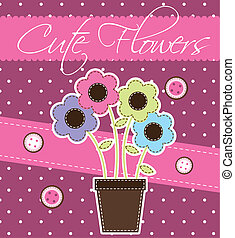 cute flower over pink background vector illustration
