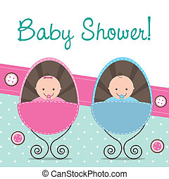 baby shower card with two babies. vector illustration