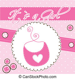 bib - pink cute card with bib, baby shower. vector...