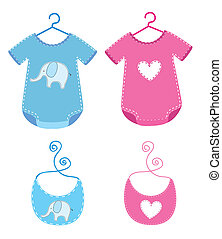baby clothes with bib isolated over white background. vector