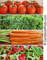 Strips of vegetables - tomatoes, kale, carrots, peppers