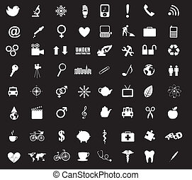 icons vector - black and white icons isolated. vector...
