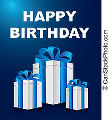 happy birthday card with gifts over blue background. vector