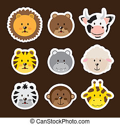 cute animals - cute faces animals over brown background....