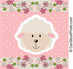 cute sheep - cute face sheep over pink background vector...