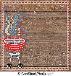 Rustic Patriotic BBQ Party Invitation on a wood plank...