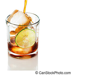 Glass of cola with ice and lemon. Isolated on white...