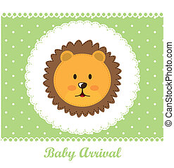 baby arrival with face cute lion over green card vector...