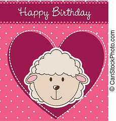 birthday card with cute sheep. vector illustration