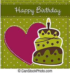 birthday card with cake and heart. vector illustration