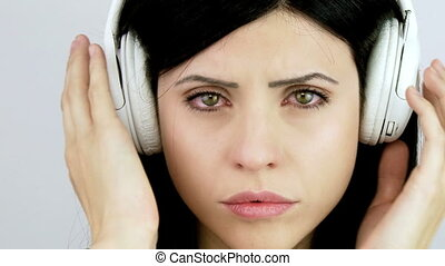 Woman with headset crying