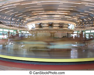 Fast moving carousel at Glen Echo park