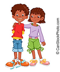 friendship - colored illustration of a couple of friends
