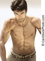 Hot guy - Portrait of a sexy male model without shirt...
