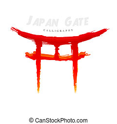 Japan Gate calligraphy Abstract symbol of hand-drawn
