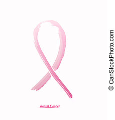 Pink ribbon on her chest to support breast cancer cause or...