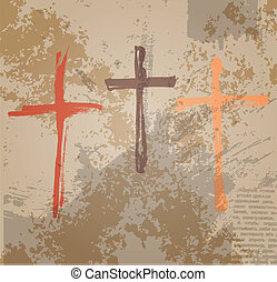 Three Crosses on the grunge background The biblical concept...
