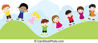 happy children background of girls and boys standing and...