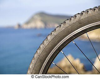 Mountain bike wheel with blurred landscape. In the picture...