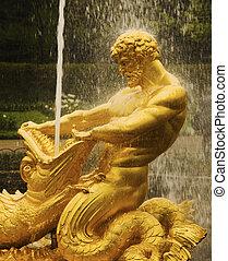 dorado, fuente, palacio, Peter, grande, (St, Petersburg