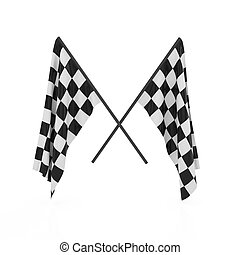 Checker flags - 3d render of checker flags isolated on white...