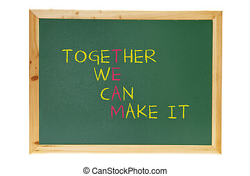 Blackboard with Inspiration Message on White Background