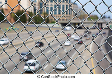 Highway Chain link fence up close