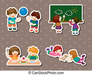 kid playing stickers