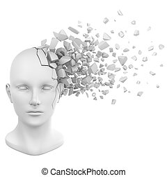 human head shatter white - a shattered human head model from...