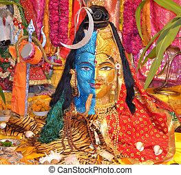 estatua, indio, dios, shiva, Parvati