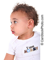 Infant Baby Boy on White Background