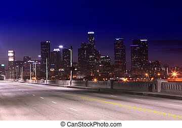 City of Los Angeles at Night - Los Angeles Freeway and City...