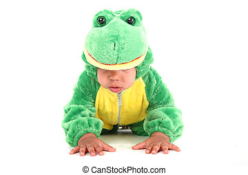 Adorable baby boy dressed as a frog