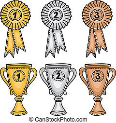 Gold, silver and bronze awards set