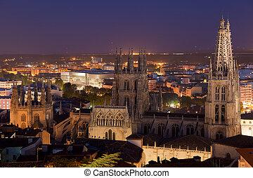 Cathedral of Burgos tonight, Burgos, Castilla y Leon, Spain