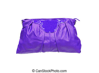 Beautiful violet makeup (cosmetics) bag isolated on white