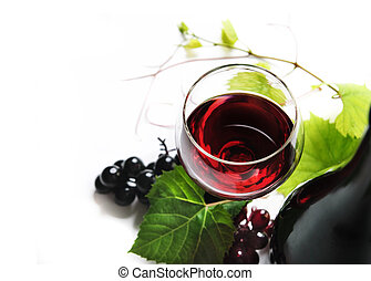 Wine - Glass of red wine on white background