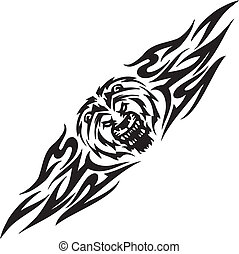 Lion and symmetric tribals - vector illustration - Predatory...