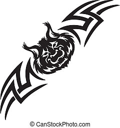 lynx and symmetric tribals - vector illustration - Predatory...