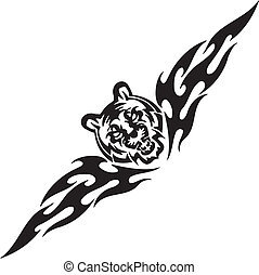 Tiger and symmetric tribals - vector illustration -...