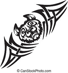 Bat and symmetric tribals - vector illustration. - Predatory...