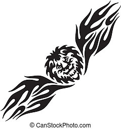 Lion and symmetric tribals - vector illustration. -...