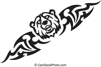 Bear and symmetric tribals - vector illustration - Predatory...