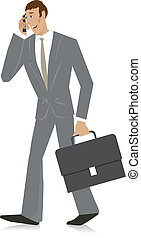 Businessman with mobile phone and b
