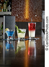 Alcoholic Beverages on a Bartop - An image of alcoholic...