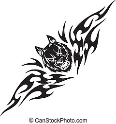 Wolf and symmetric tribals - vector illustration - Predatory...