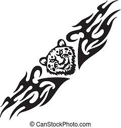 Jaguar and tribals - vector illustration. - Predatory head...